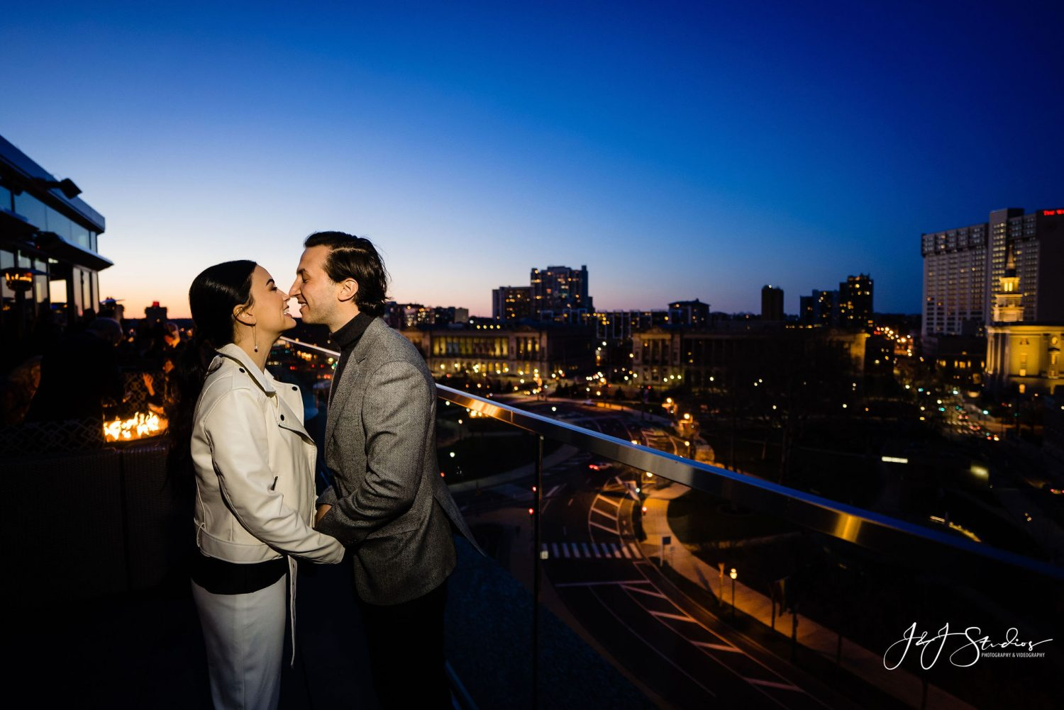 bride and groom kissing Rehearsal Party Session