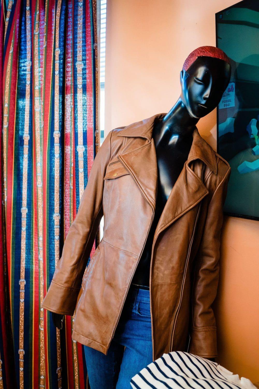 Brow leather jacket