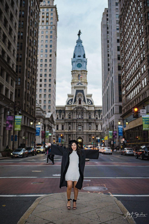 College graduate downtown Philadelphia Temple University Commencement