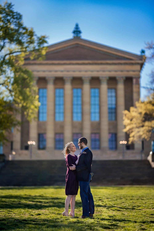 Couple at museum Boathouse Row Philadelphia and Art Museum