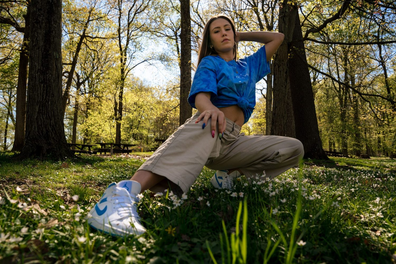 Girl in blue shirt posing Senior Photography Philadelphia