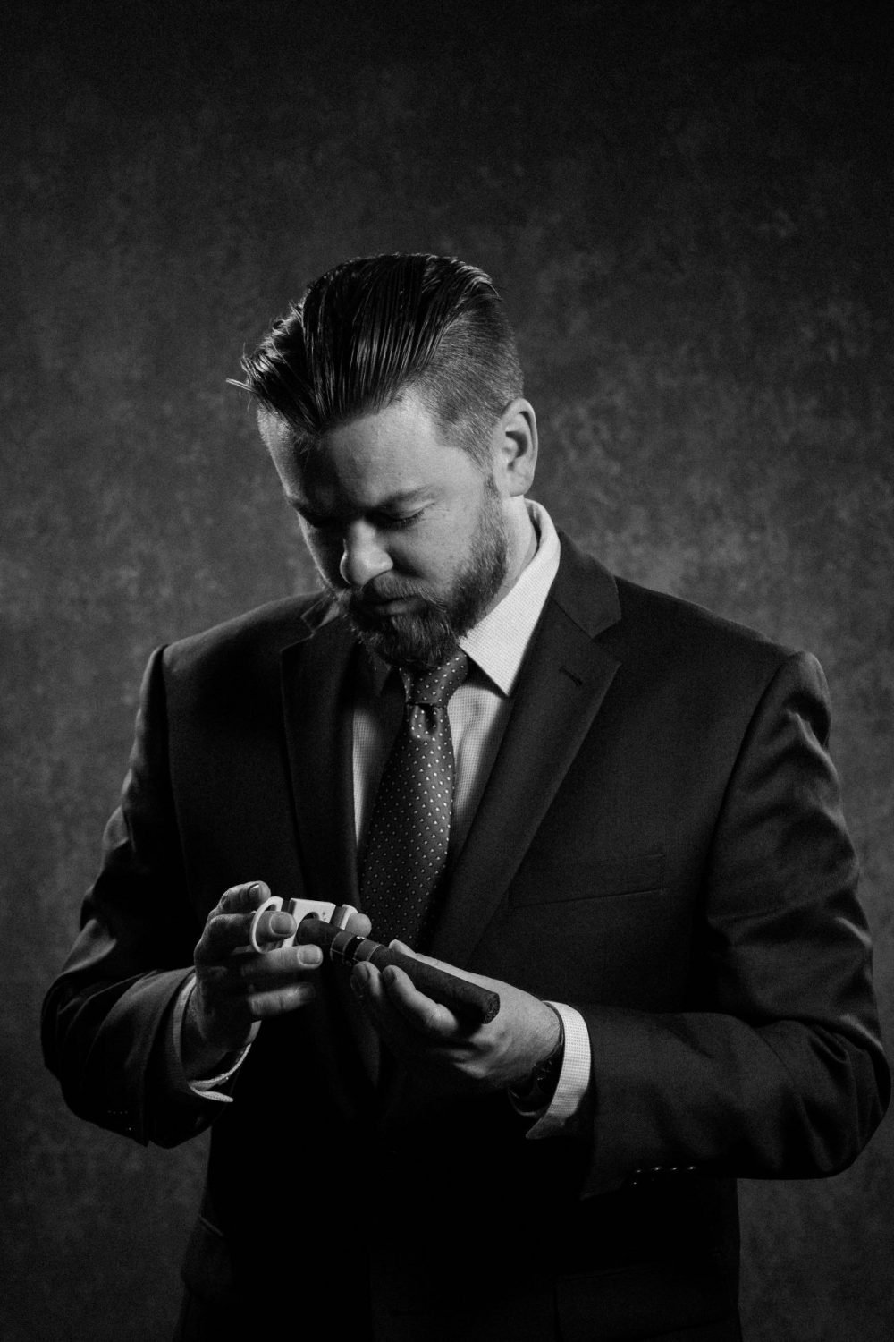 Black and white photo of the groom