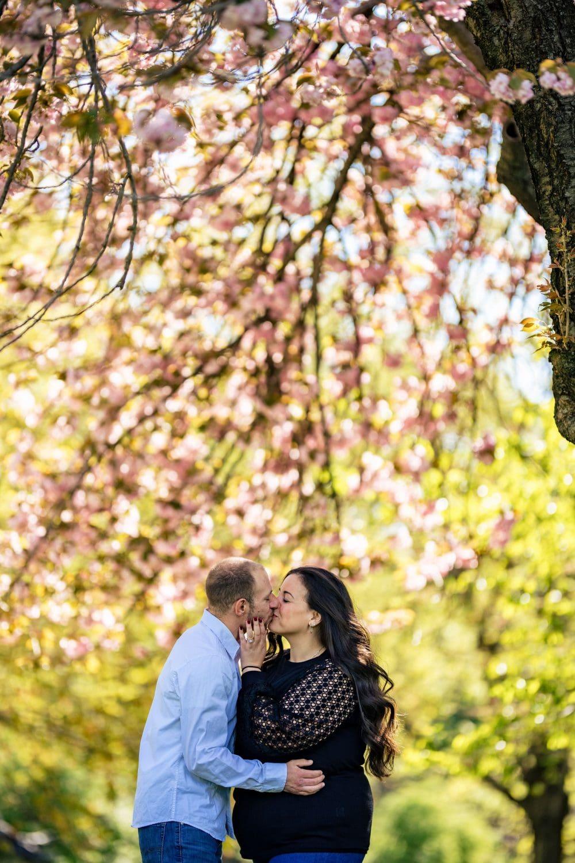 Victoria and Stephen under cherry blossom tree
