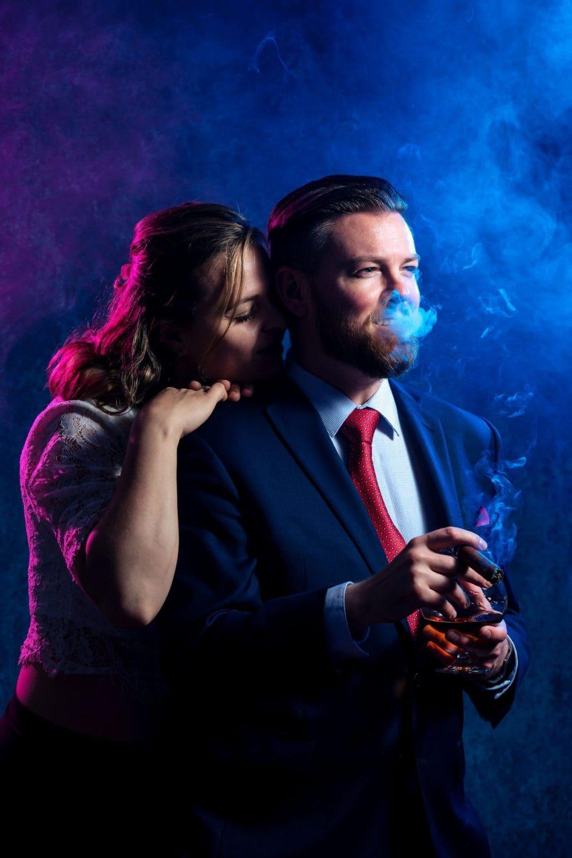 Cuddling with groom Groom Cigar And Shots