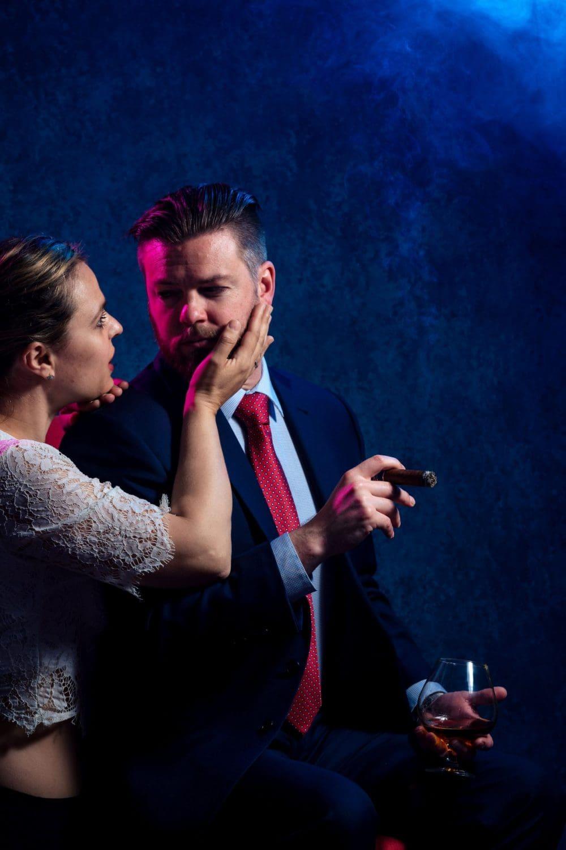 Bride embracing the groom Groom Cigar And Shots