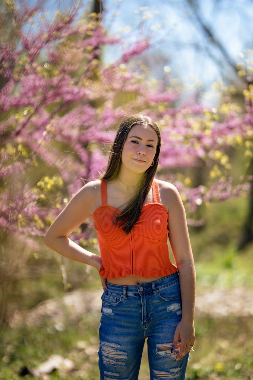 Senior girl in orange shirt Senior Photography Philadelphia