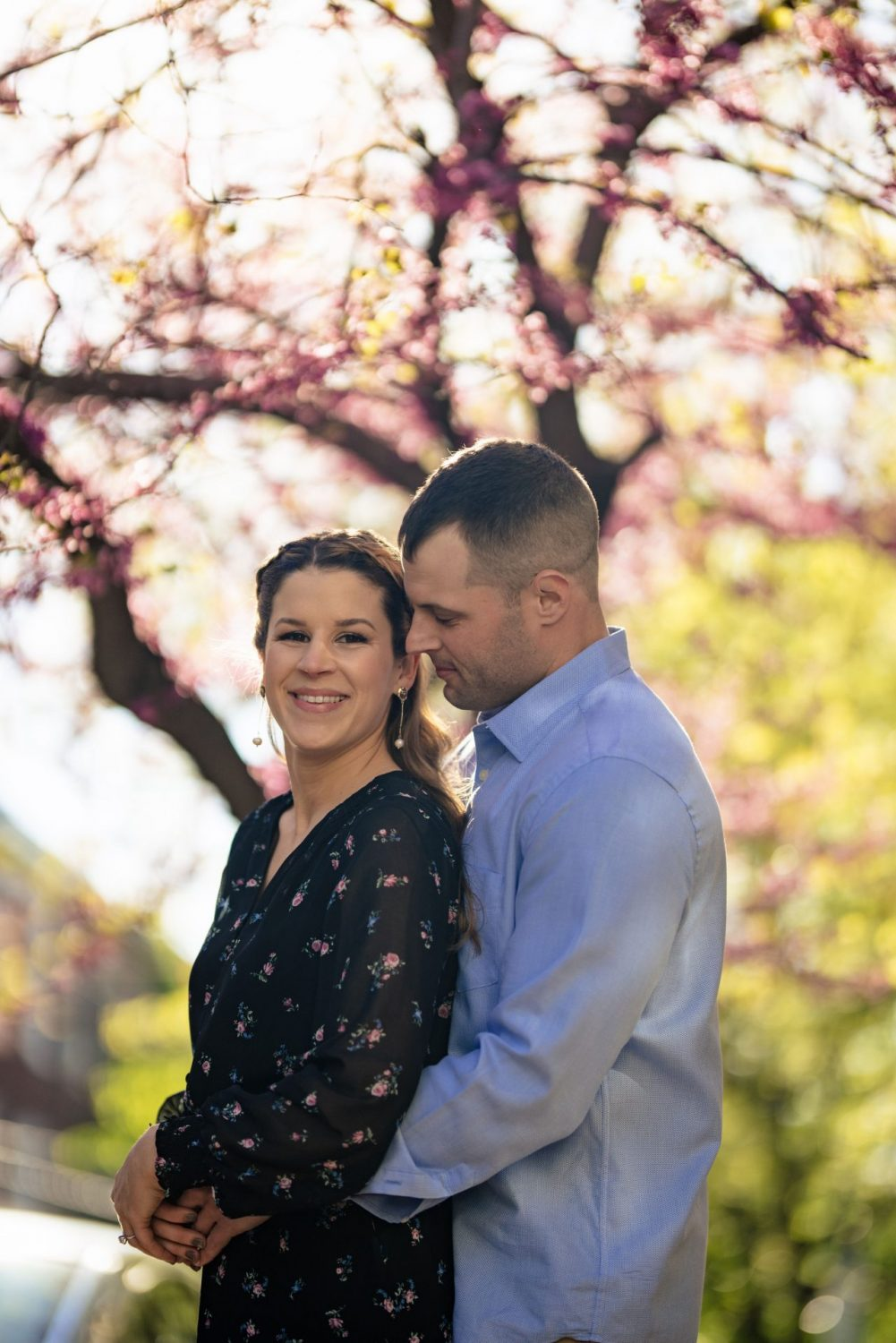 Lovely couple posing Philly engagement session