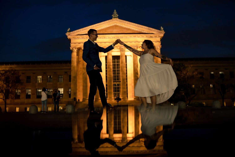 Philadelphia Museum of Art Engagement dancing at the museum
