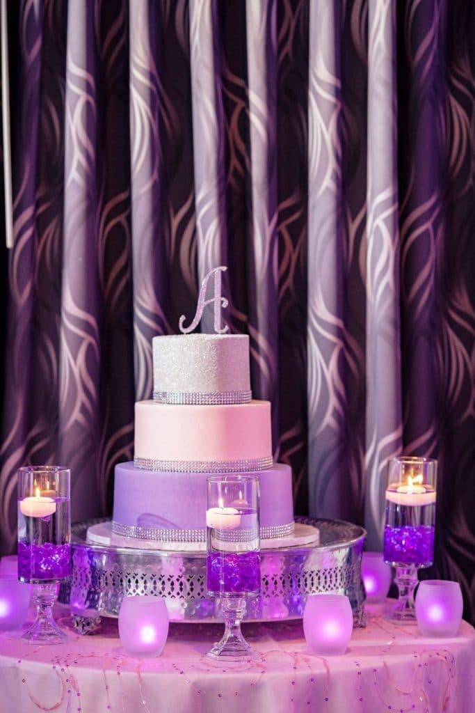 purple and silver birthday cake