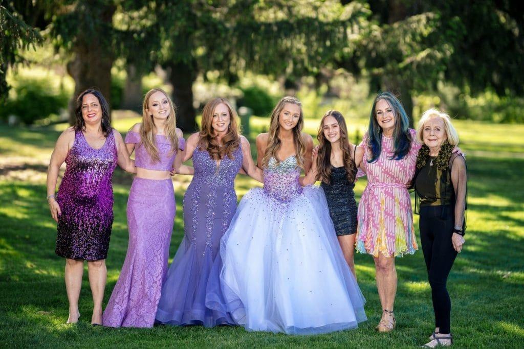 female family members dressed nicely posing
