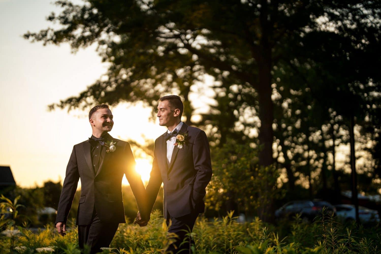 Sunset grooms Bishop Farmstead Wedding shot by John Ryan