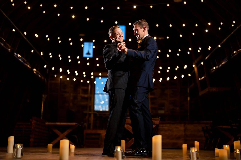 Sean and Dana first dance at wedding reception Bishop Farmstead Wedding shot by John Ryan