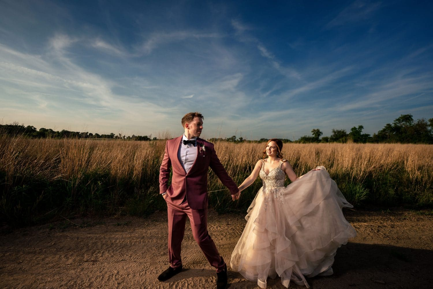 Epic photo of bride and groom on the farm in New Jersey Bishop Farmstead Wedding shot by John Ryan