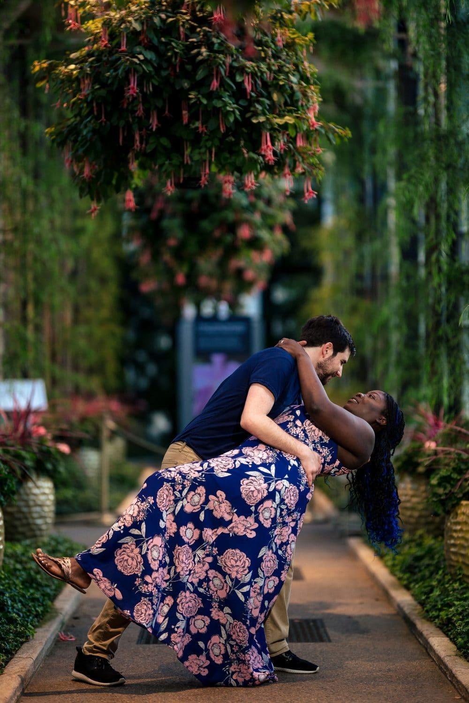 Beautiful couple dramatic dance pose Longwood Gardens Engagement Shot By John Ryan