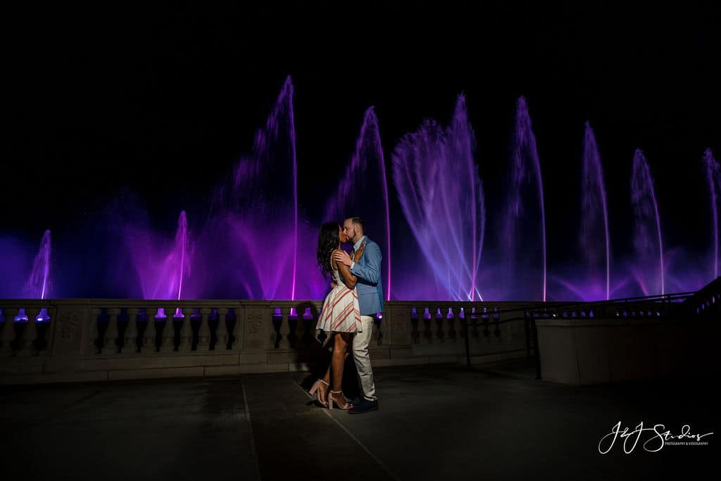 Lovely couple by waterfall