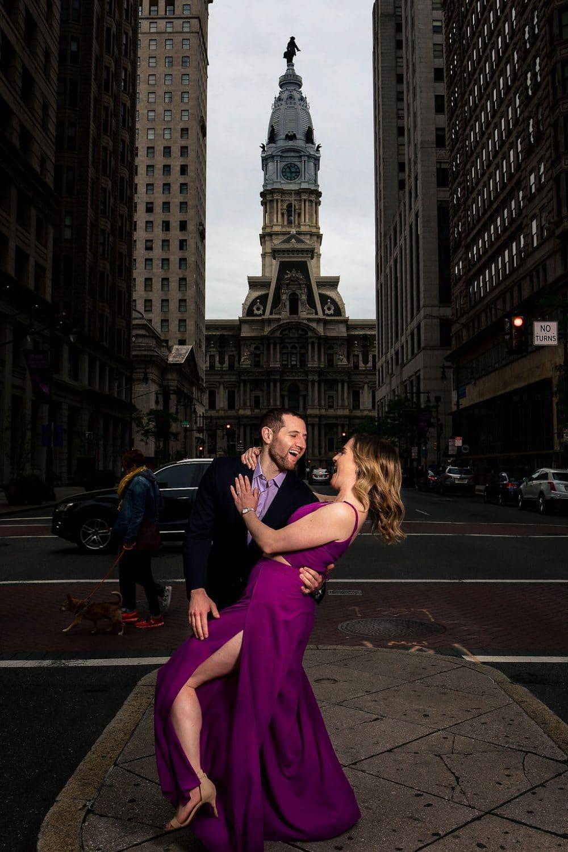 Couple downtown Philadelphia Philadelphia Engagement Session Shot by John Ryan