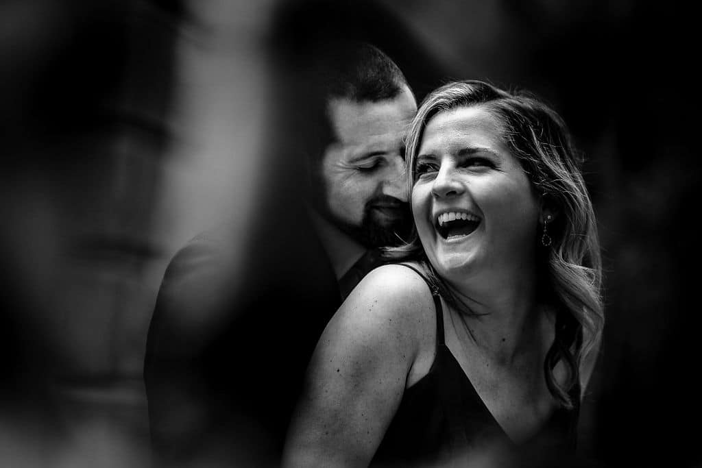 Black and white photo of couple in love Philadelphia Engagement Session Shot by John Ryan