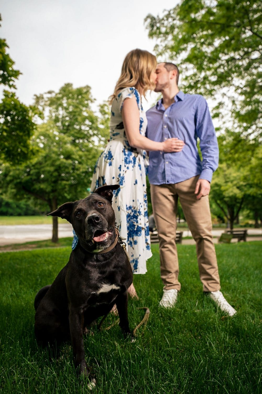 Park with family dog Philadelphia Engagement Session Shot by John Ryan