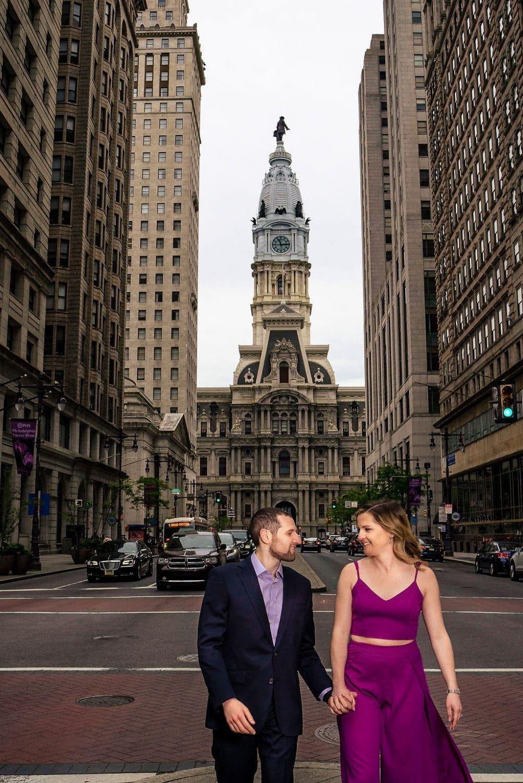Couple holding hands Downtown Philadelphia Philadelphia Engagement Session Shot by John Ryan