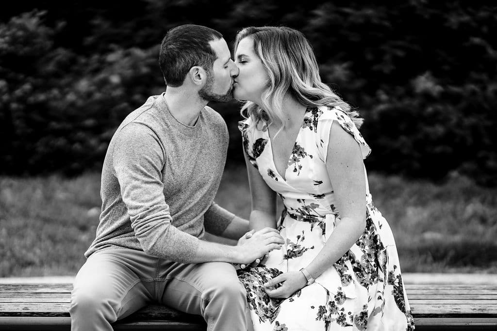 Couple in love kissing at Park in Philly Philadelphia Engagement Session Shot by John Ryan