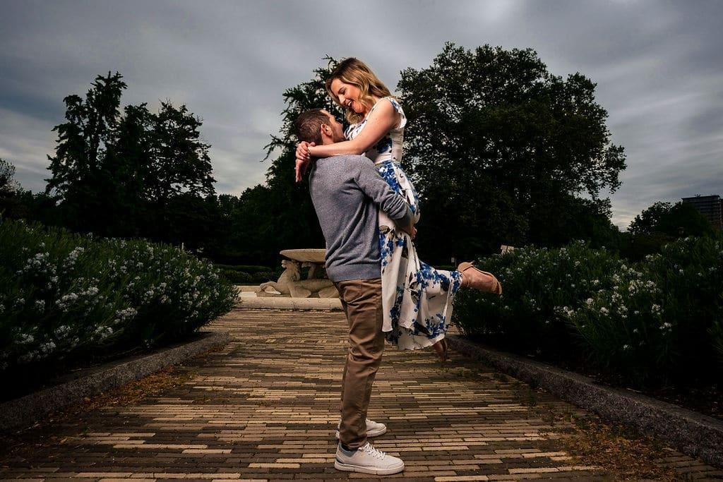 Couple embracing at Fairmount Water Works Philadelphia Engagement Session Shot by John Ryan
