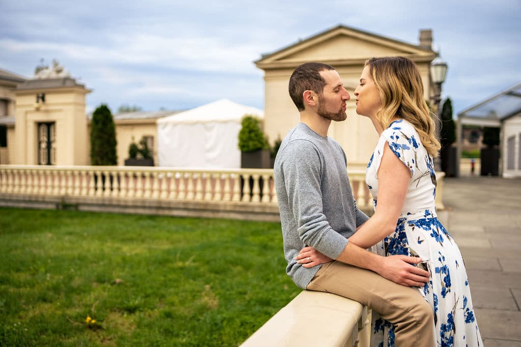 Couple kissing and embracing at Philly Museum of Art
