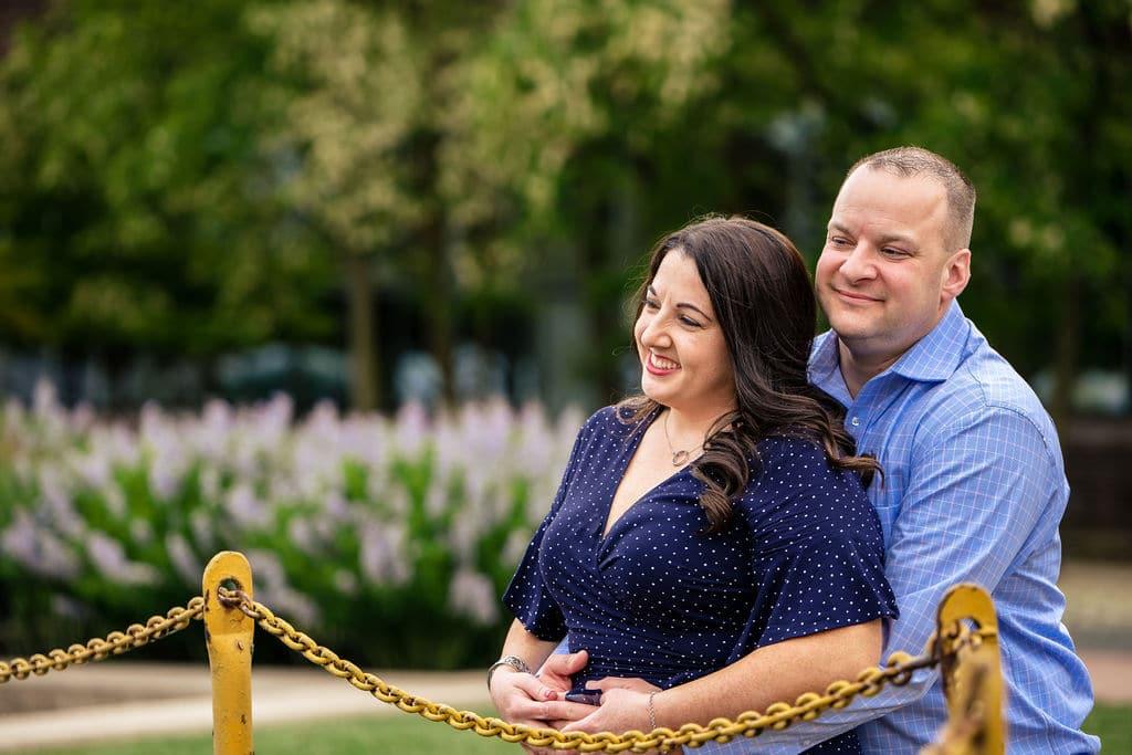 Blissful happy couple Philadelphia Navy Yard Engagement Session Shot by John Ryan