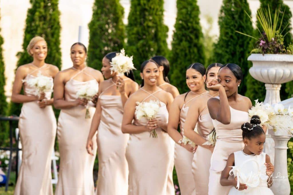 pink satin bridesmaids dresses