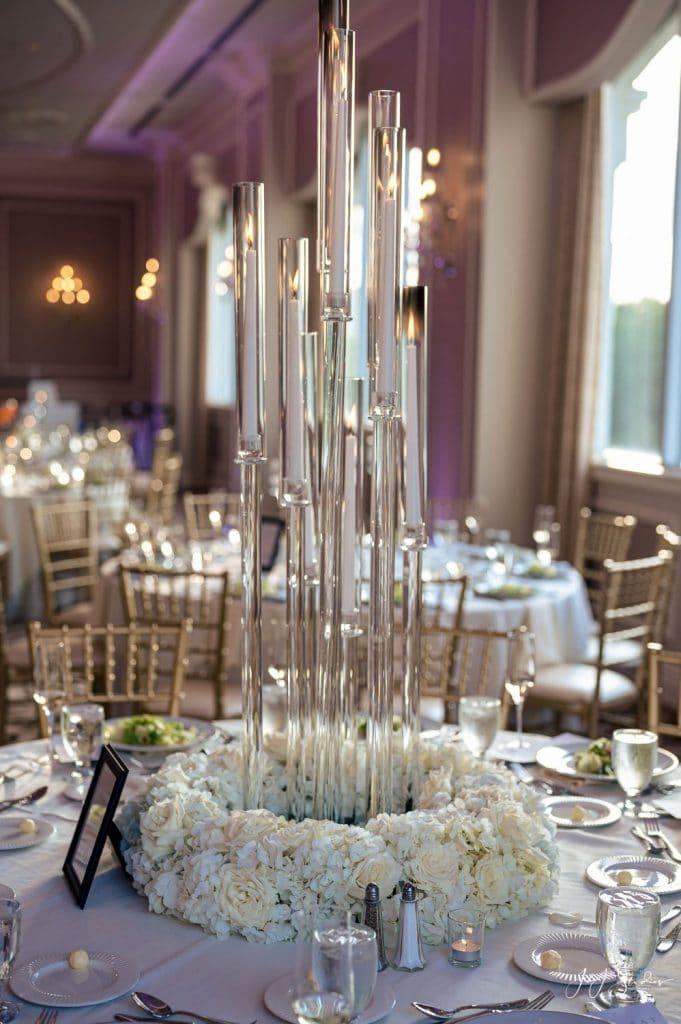tall glass candles wedding centerpiece