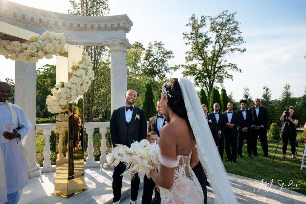 groom happy to see his bride wedding ceremony