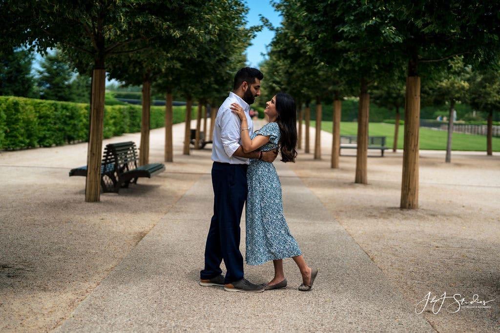 romantic couple among trees