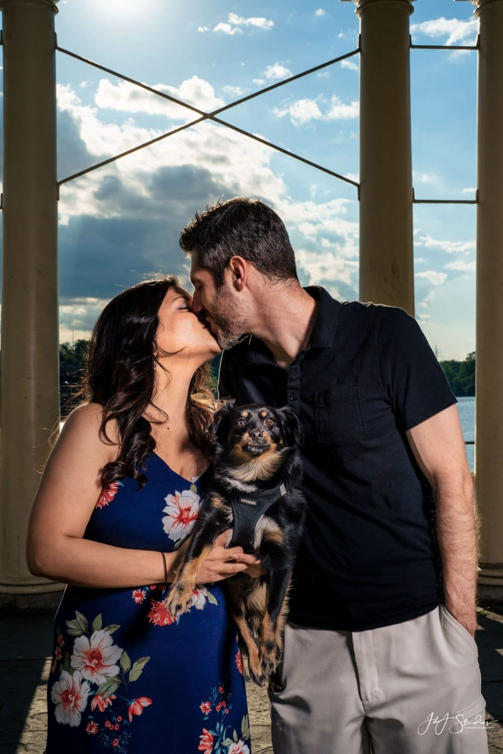 Engaged couple with their dog during Fairmount Engagement Shot By John Ryan
