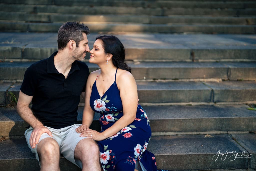 Couple sitting on the steps at Philly Museum of Art Shot By John Ryan
