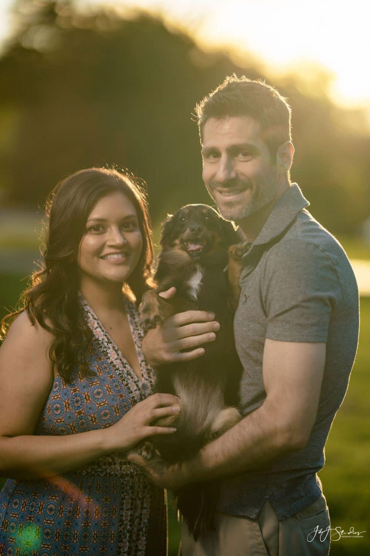 Dave and Robin with dog Fairmount Park Fairmount Engagement Shot By John Ryan