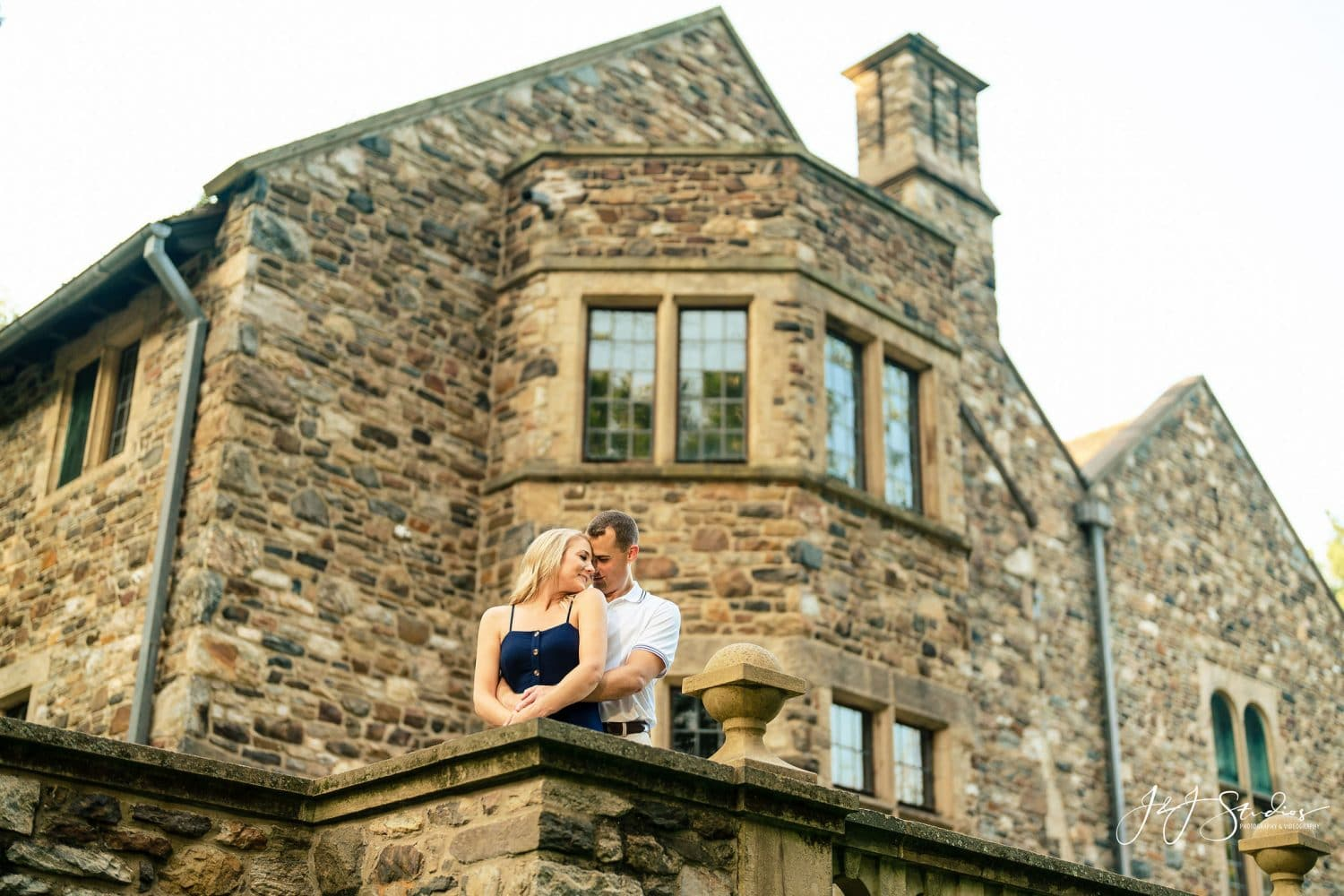 Epic shot of engaged couple during Hunting Hill Mansion Engagement Shot By John Ryan