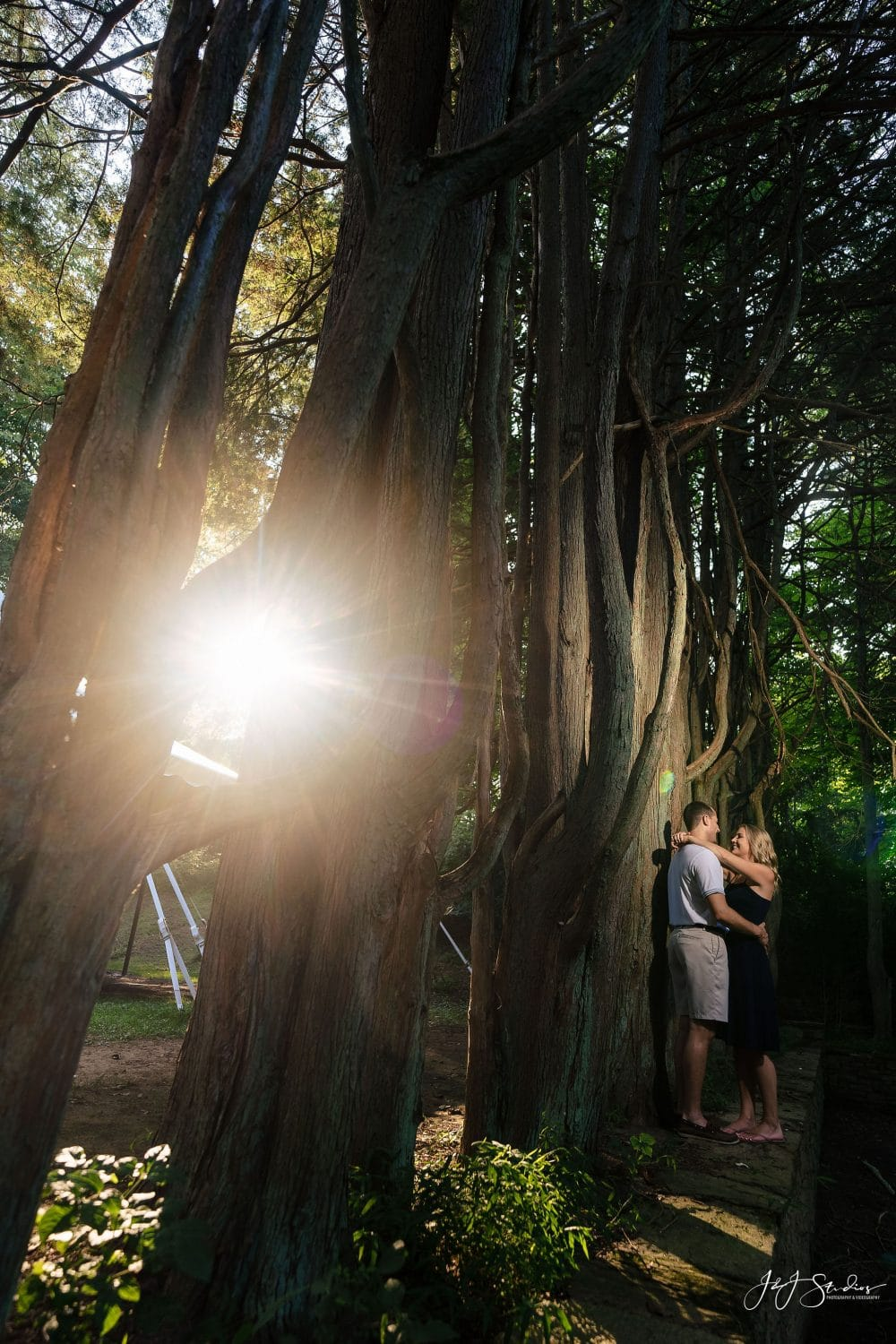 engaged couple in the wilderness Hunting Hill Mansion Engagement Shot By John Ryan