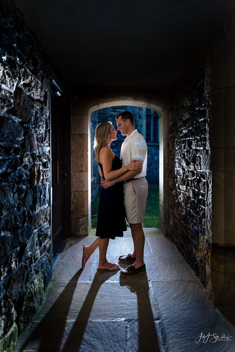 Couple nightitime inside of the Hunting Hill Mansion Hunting Hill Mansion Engagement Shot By John Ryan