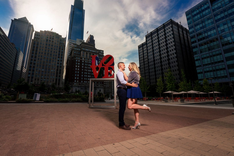 Love Park engagement shoot by J&J Studios