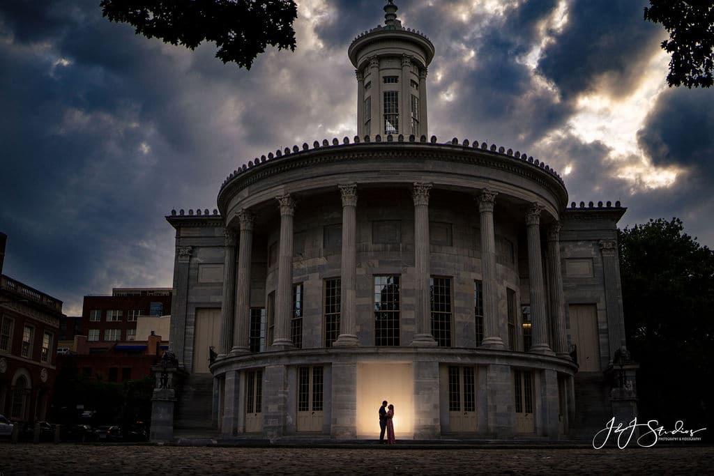 philadelphia merchants hall engagement silhouette couple