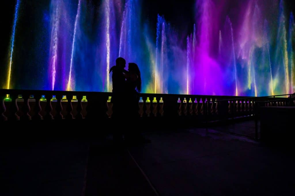 tall water fountain colored lights