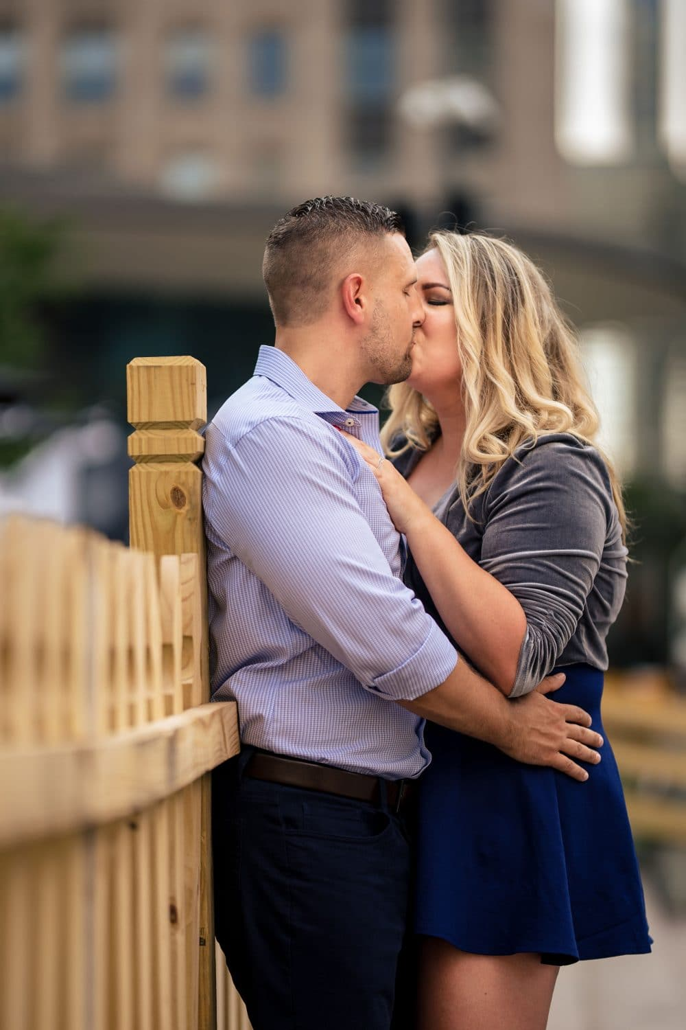 Passionate embrace at Park in Philly Philadelphia Engagement Shot By John Ryan