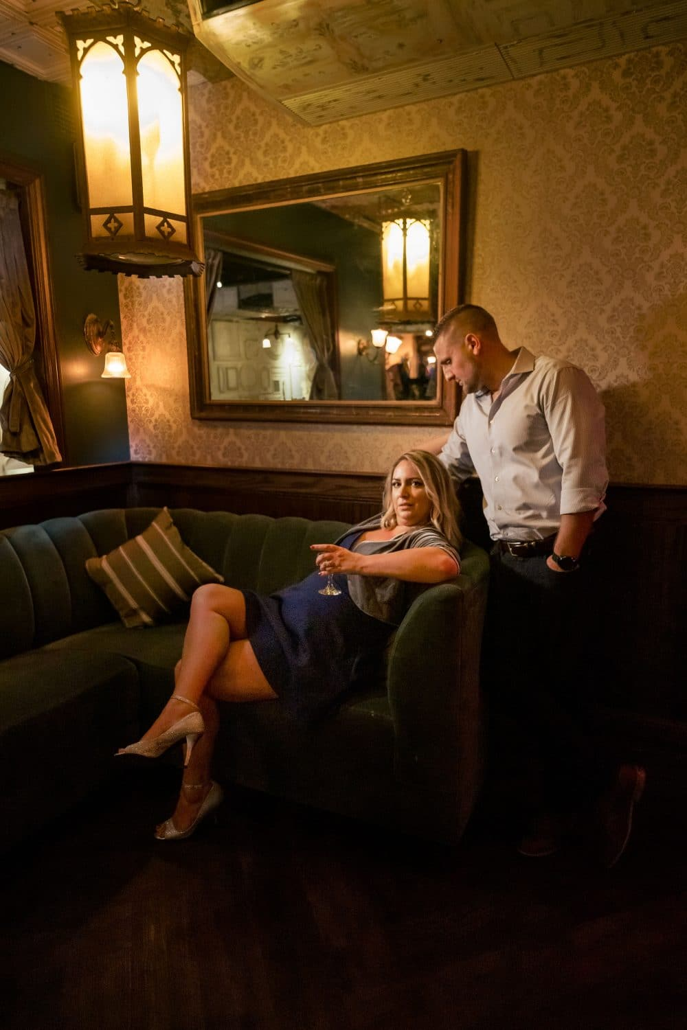 Don and Rebecca at Philly wine cellar Philadelphia Engagement Shot By John Ryan