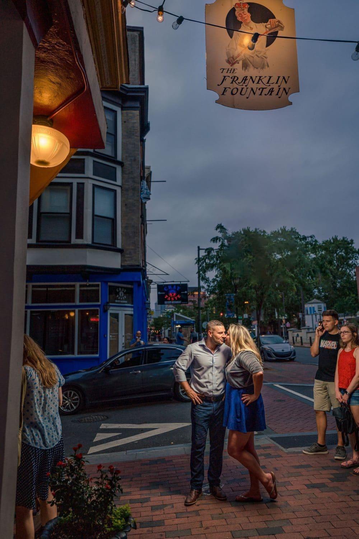 Nightime in Philly Philadelphia Engagement Shot By John Ryan