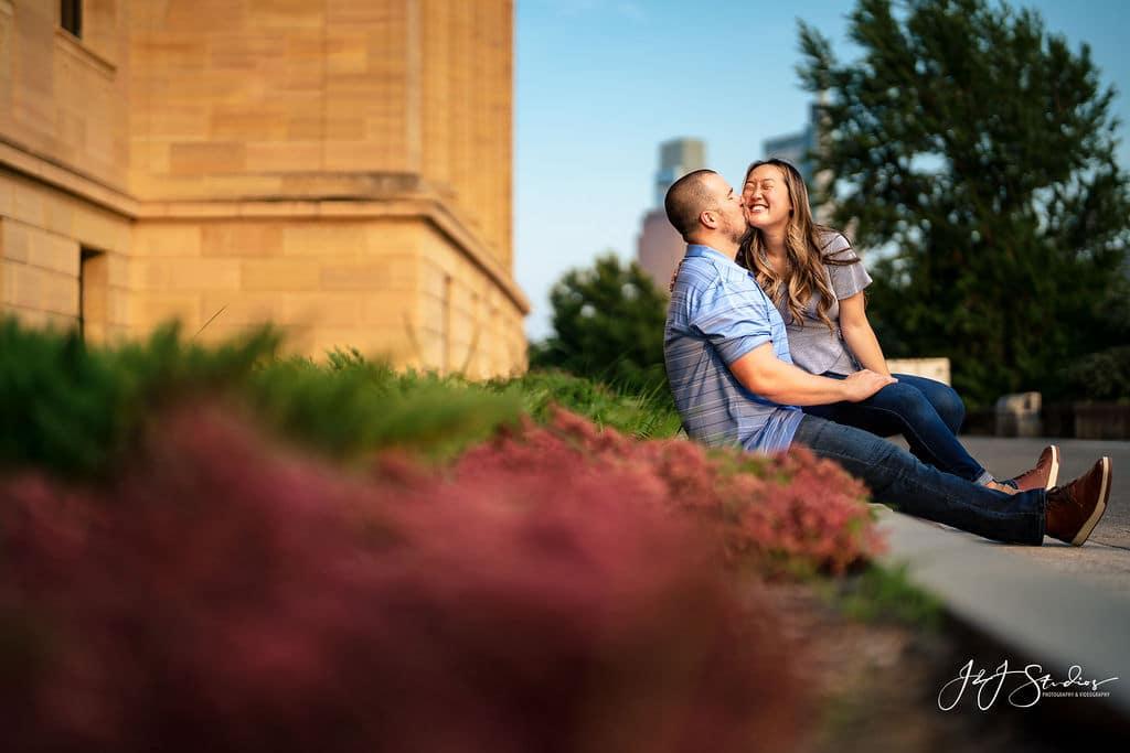 Engaged couple Philadelphia Museum of Art and Fairmount Waterworks Engagement Shot By John Ryan