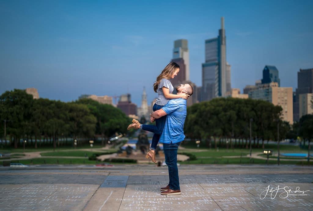 Epic romanitc shot during engagement shoot Shot By John Ryan