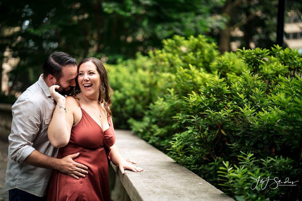 James embracing Sara from behind at Philly Park Shot By John Ryan