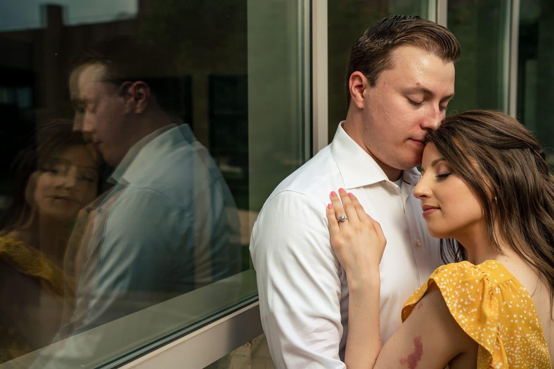Engaged couple PA Saint Joseph's University Engagement Shot By John Ryan