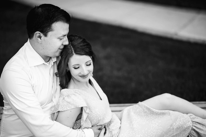 Black and white Photos of Melissa and George Saint Joseph's University Engagement Shot By John Ryan