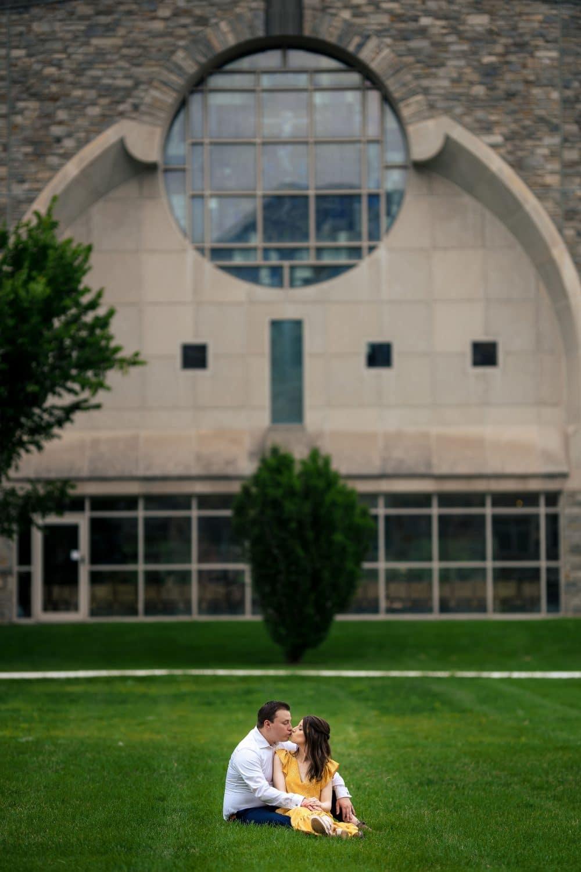 Couple on SJU Campus Saint Joseph's University Engagement Shot By John Ryan