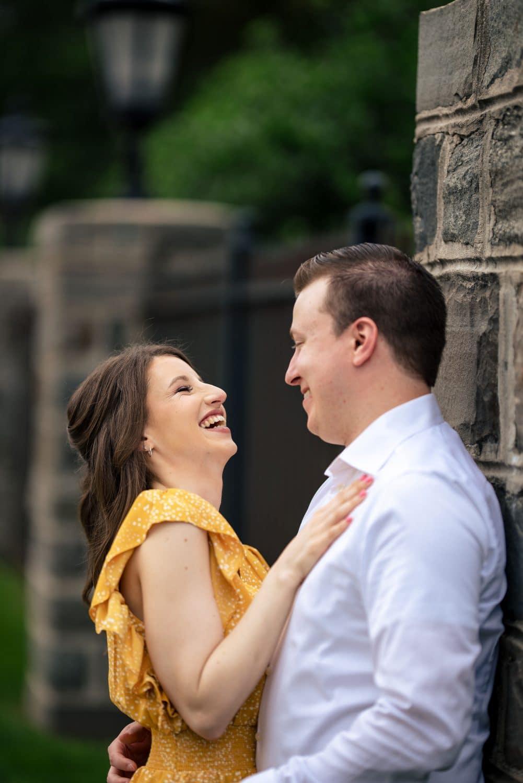 Melissa laughing at fiancée Saint Joseph's University Engagement Shot By John Ryan